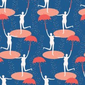 Female figure holding open umbrella Singing in the rain seamless vector pattern Woman leaping in water puddle Concept of happiness joy wellness