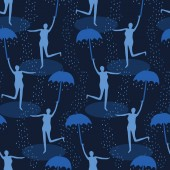Female figure holding open umbrella Singing in the rain seamless vector pattern Woman leaping water puddle Concept of happiness joy wellness Matisse style papercut Indigo blue raindrops falling