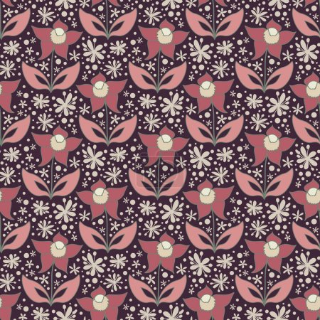 Illustration for Abstract floral pattern, seamless background with stylized flowers - Royalty Free Image