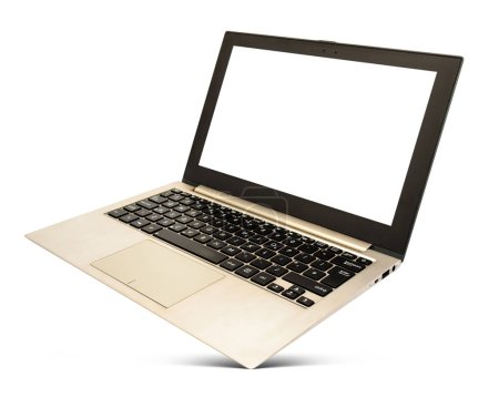 Photo for Hovering rose gold laptop with black screen and popular design, isolated on a white background. - Royalty Free Image