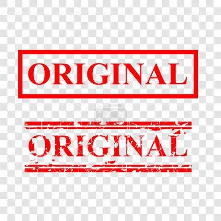 Photo pour Original, timbre en caoutchouc rouge à 2 lignes de style, fond transparent - image libre de droit