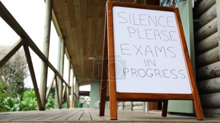 Silence exam sign outside a class room. exams time...