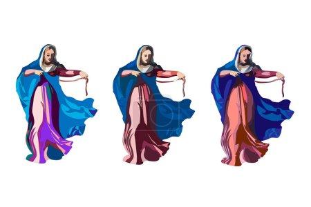 Illustration vectorielle pour : L'Assomption de Marie au Ciel, aussi connue comme la fête de Sainte Marie la Vierge et l'endormissement de la Bienheureuse Vierge Marie ou la Dormition de la Mère de Dieu .