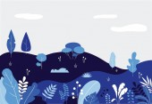 Plant landscape minimal flat leaves design Background template with leaves trees forest plants clouds empty space Vector floral illustration nature poster in blue colors