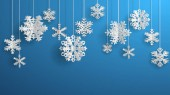 Christmas illustration with white three-dimensional paper snowflakes hanging on light blue background