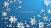Christmas illustration with white three-dimensional paper snowflakes on light blue background
