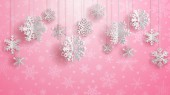 Christmas illustration with white three-dimensional paper snowflakes hanging on pink background