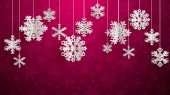 Christmas illustration with white three-dimensional paper snowflakes hanging on crimson background