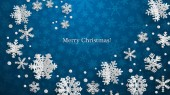 Christmas illustration with white three-dimensional paper snowflakes on blue background