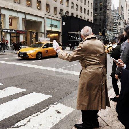pedestrians waiting on crosswalk, Manhattan, New York City