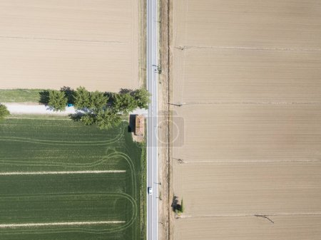 aerial view of lonely road with agro fields on sides, Italy