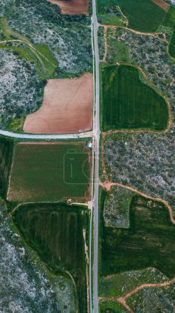 aerial view of road with agro fields on sides, Cyprus