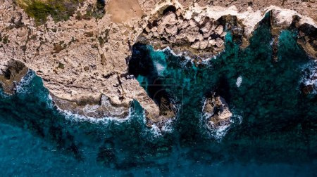 top view of scenic rocky coast with blue sea, Cyprus