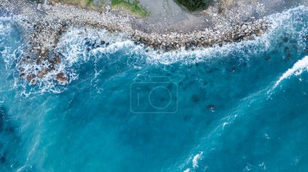 Photo for Aerial view of beautiful blue sea with rocky coast, Israel - Royalty Free Image
