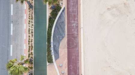 Photo for Aerial view of road and sandy beach, Israel - Royalty Free Image