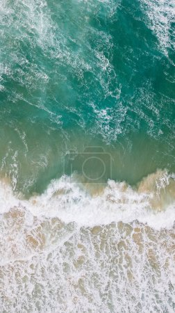 aerial view of beautiful sea with foamy waves, Cyprus