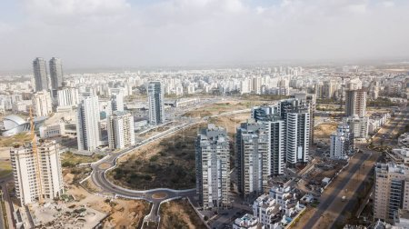 aerial view of modern city district with apartment buildings, Ashdod, Israel