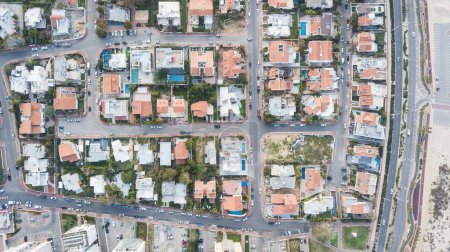 Photo for Aerial view of private houses district with swimming pools, Israel - Royalty Free Image