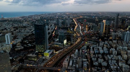 aerial view of downtown district on cloudy evening, Ashdod, Israel