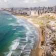 Aerial view of big city with sandy seashore and wa...