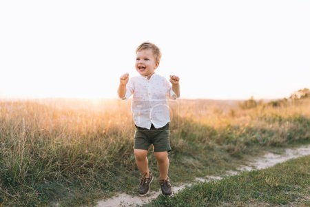 adorable happy little boy walking on rural path at sunset