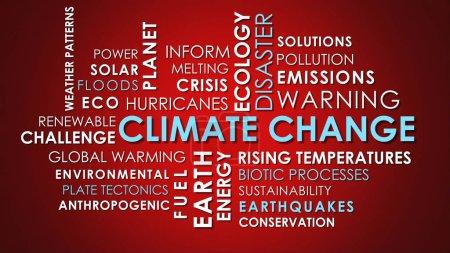 Photo pour Relatives aux changements climatiques de nuage de mot du texte animé sur fond rouge. - image libre de droit