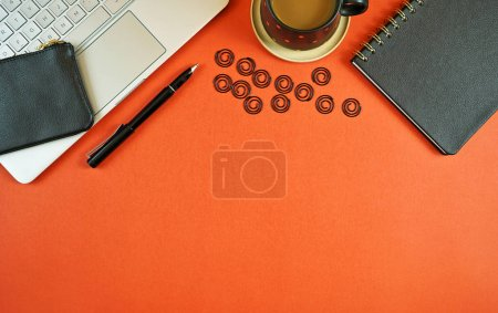 Photo for Business and finance desk workspace concept with stylish masculine accessories and high tech laptop on stylish brown background. - Royalty Free Image