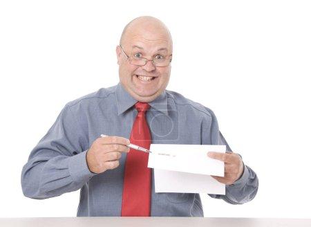 Photo pour Un vendeur louche qui réclame une signature - image libre de droit