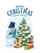 Vector illustration of snowman and decorated christmas tree with gifts and toys on white background Greeting card with Merry Christmas 11
