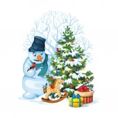 Vector illustration of snowman and decorated christmas tree with gifts and toys on white background Merry Christmas 11