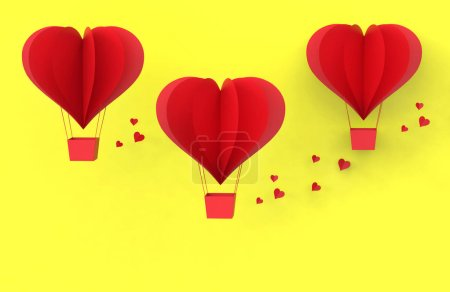Photo for Three Red balloons from cut paper heart isolated on yellow. Valentines day concept. 3D illustration - Royalty Free Image