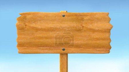 Photo pour Panneau blanc vide en bois et fond bleu ciel. Illustration 3d - image libre de droit
