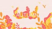 Fantasy autumn leaves background template vector illustration flat design