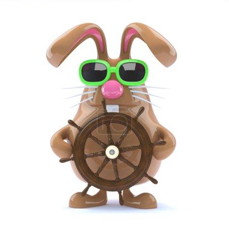 Photo pour 3d rendu d'un lapin dirigeant un navire - image libre de droit