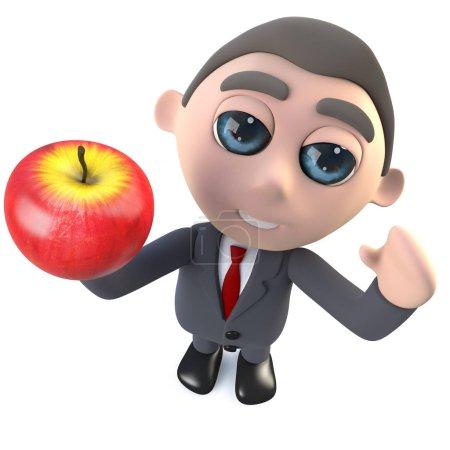 Foto de 3d renderizado de un divertido personaje ejecutivo de dibujos animados hombre de negocios sosteniendo una manzana - Imagen libre de derechos