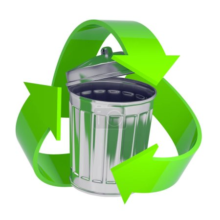 3d render of a galvanized steel rubbish bin surrounded by a green recycle symbol