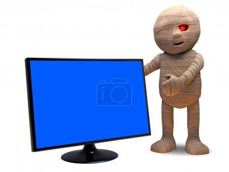 Photo pour Pourriez-vous acheter une télévision à écran plat d'une momie égyptienne morte-vivante, rendu d'illustration 3D - image libre de droit