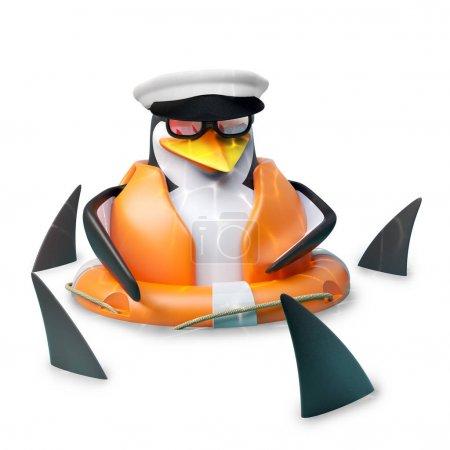 Poor floating sailor penguin in sailors hat is flo...