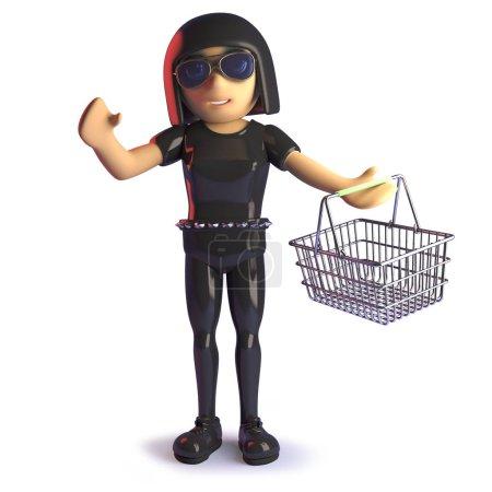 Photo pour Gothique fille en latex shopping avec son panier, 3d illustration rendre - image libre de droit