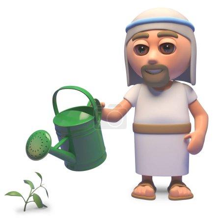 Photo pour Saint Jésus Christ arrosant son jardin avec un arrosoir, illustration 3D rendre - image libre de droit