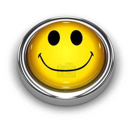 Photo for 3d render of a smiley face button - Royalty Free Image