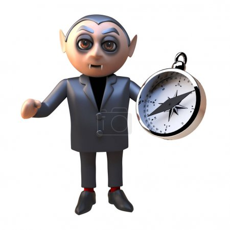 3d dracula vampire monster character holding a magnetic compass, 3d illustration