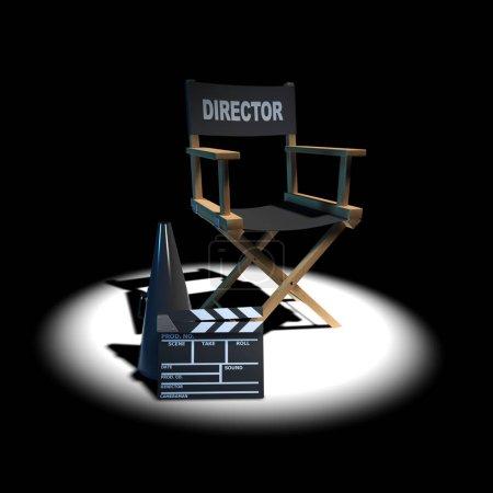 Photo pour 3d rendu d'une chaise d'administrateur sous les projecteurs - image libre de droit