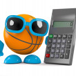 3d render of a basketball character with a calcula...