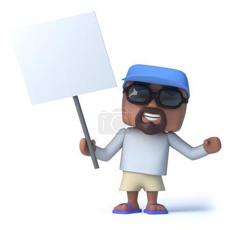 Photo pour 3d rendu d'un marin tenant une pancarte blanche . - image libre de droit