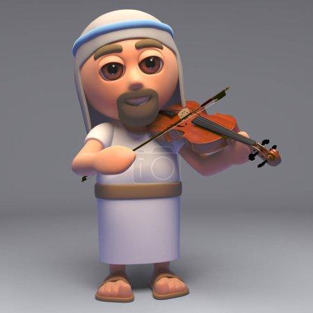 Photo pour Le Sauveur Jésus Christ fils de Dieu jouant du violon, illustration 3D rendre - image libre de droit