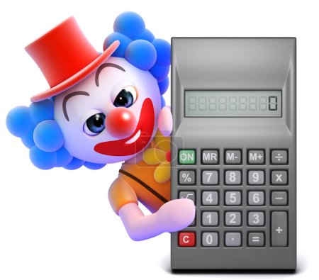 Illustration for 3d render of a clown hiding behind a calculator - Royalty Free Image