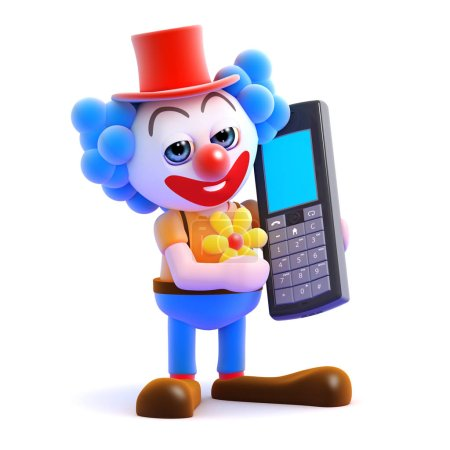 Illustration for 3d render of a clown talking on a mobile phone - Royalty Free Image