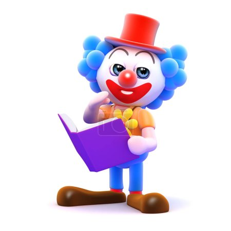 Illustration for 3d render of a clown with a book - Royalty Free Image