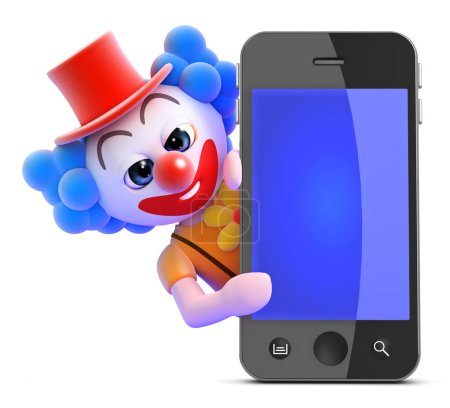 Illustration for 3d render of a clown behind a smart phone - Royalty Free Image